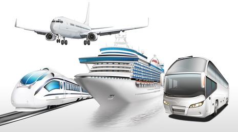 Flugzeug, Schnellzug, Schiff, Bus, Personenbefrderung